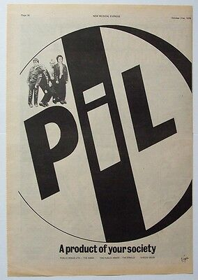 PiL PUBLIC IMAGE LTD 1978 Poster Ad THE PUBLIC IMAGE first issue