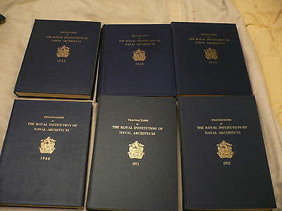 Transactions of The Royal Institution of Naval Architects 6 volumes 1963-72