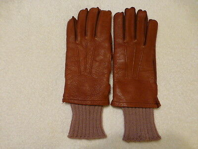 Men's Tan Leather Knit Lined Gloves Size Small(8).