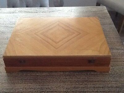 Vintage Timber Canteen Cutlery Box Felt Lined