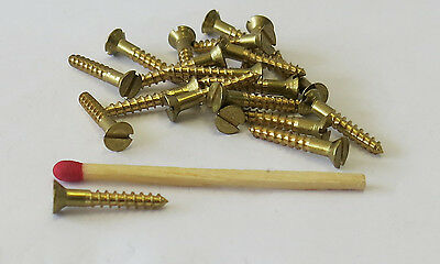 "20 Solid Brass Wood Countersunk Screws 5/8"" X 3#"