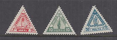 BOLIVIA, Postage Due, 1938 Triangle set of 3, lhm.