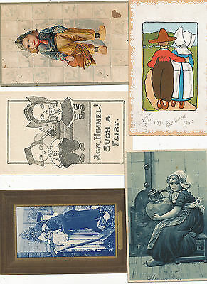 #288  1910---   lot of 5 DIFF GREETINGS LOVE  COMIC DUTCH CHILDREN ETC POSTCARDS