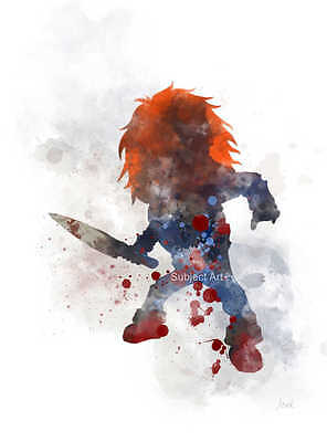 ART PRINT Chucky inspired illustration, Child's Play, Movie Wall Art Horror Gift