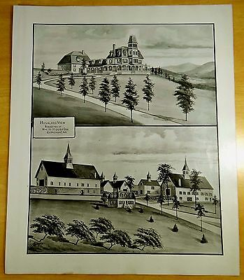 Highland View - Residence of Wm.H.Moody CLAREMONT, NH 1892 LARGE ANTIQUE PRINT