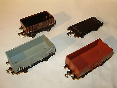 Hornby Dublo and Trix open wagons x 4. Good condition.One incomplete. OO Scale.