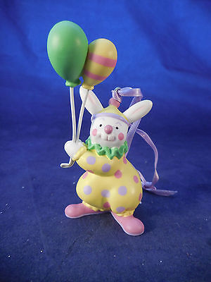 """Avon Bunny Ornament In Clown Suit With Balloons 3 1/2"""""""