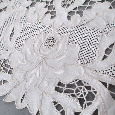 8-Pc Vintage Hand Embroidered Italian Needle LACE LINEN Placemats + Runner ROSES