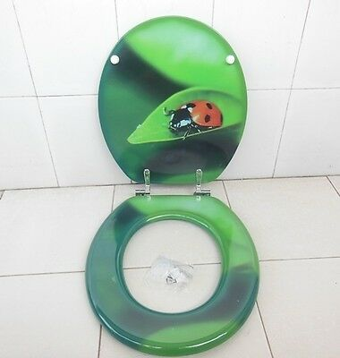 1X New Green Beetle On Leaf Toilet Seat & Cover