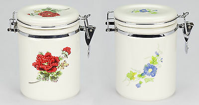Set of 2 NEW porcelain tea loose bag biscuit caddie canister jar container