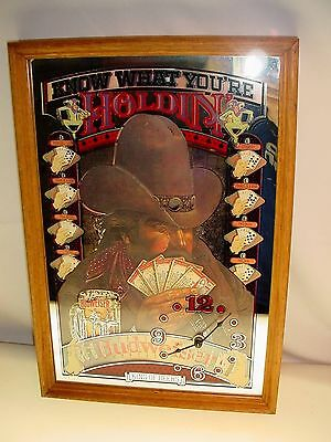"""Vintage Stamford Art Budweiser Beer Clock Mirror Know What You're Holdin 19""""x13"""""""