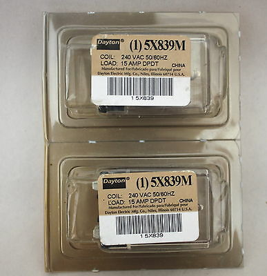 Dayton 5X839M Lot of 2 Ice Cube Relay 240 VAC 50/60hz 15Amp DPDT