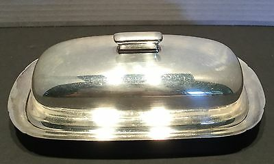 Reed & Barton Covered Butter Dish With Original Glass Insert #1142 Silverplate