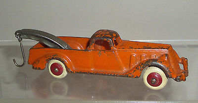 1936 Hubley Cast Iron Wrecker Car With Nickel Plate Boom & Separate Hook