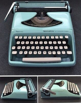 Vintage Remington Sperry Rand Portable Typewriter Mint Green With Case - Working