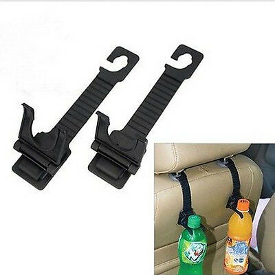 2pcs Black Auto Car Seat Back Hanger Bottle Bag Holder Hook Interior Accessories