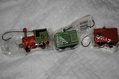 NIP whimsical train Christmas ornament 3 pieces engine, car and caboose