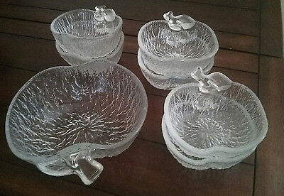 Vintage glass apple shaped bowls x6 small x1 large