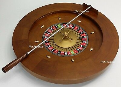 """Professional 20"""" Roulette Wheel SOLID WOOD W/ RAKE For Table or Freestanding"""
