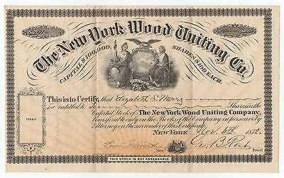 Vintage Obsolete Stock Certificate From The New York Wood Uniting Co Bald Eagle