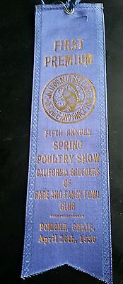 1936 Fifth Annual Spring Poultry Show Blue Ribbon CALIFORNIA BREEDERS OF RARE AN