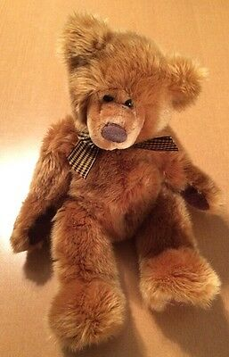 Russ Brown Bear with Bow Named Geoffrey 12""