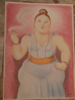 Fernando Botero        Colored Pencil Drawing    Woman Smoking   Signed