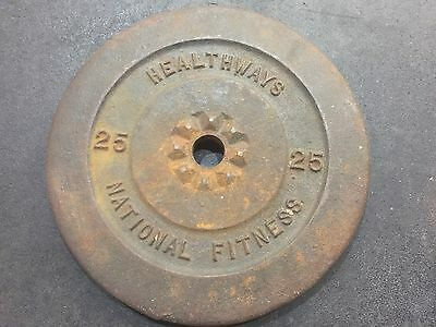 """HEALTHWAY 25  lbs Weight Plates 1"""" weights STANDARD BARBELL RARE HEALTHWAY"""