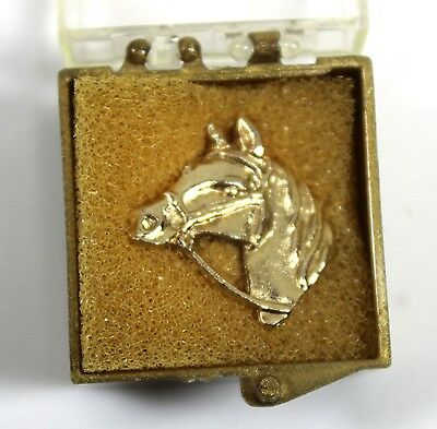 Vintage Horse Lapel Pin Gold-Tone with Original Box