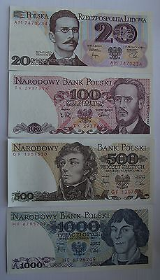1982-88  -  20, 100, 500, 1000 zlotych - Polish banknote - Uncirculated UNC