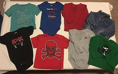 Lot Of 8 Toddler Boys Size 18 Months Shirts Onesies Clothes