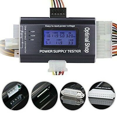 """Optimal Shop 20/24 4/6/8 PIN 1.8"""" LCD Computer PC Power Supply Tester for"""