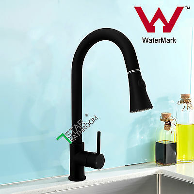 Black Pull Out Spout Pre Rinse Basin Tap Kitchen Sink Mixer Faucet WATERMARK