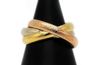 Auth Cartier Trinity Ring 750 Three Color 18K US8 189149