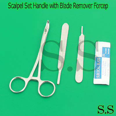 03 Pcs. Scalpel Set Handle No. 3 & 4 with Blade Remover Forcep Surgical Dental