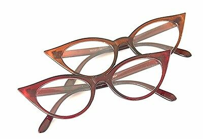 GF59 Cat Eye 1950s 1960s Cat Eye Vintage Fashion Frame Eyeglasses In Red & Brown