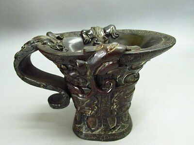 Chinese Ox-horn Carved Chinese ancient sacrifice Horn Cup / Statue-Dragon Beast