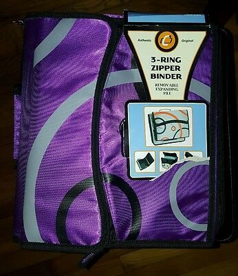 NEW Case-it 2-Inch 3-Ring Zipper Binder w/Removable Tab File, Purple D900