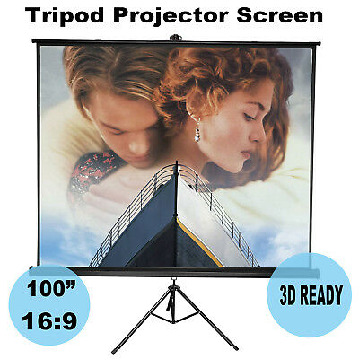 """100"""" Tripod Projector Screen Portable Office Home Cinema HD TV White Projection"""