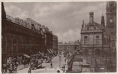 Pinstone Street, Sheffield,  South Yorks, Real photo, old postcard, posted c1913