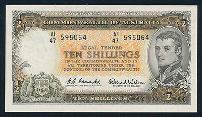 Australia: 1961 QEII 10/- Reserve Bank OLD PARLIAMENT HOUSE, aUNC Cat $275 RARE!