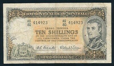 Australia: 1961 QEII 10/- Reserve Bank OLD PARLIAMENT HOUSE. Fine Cat $45