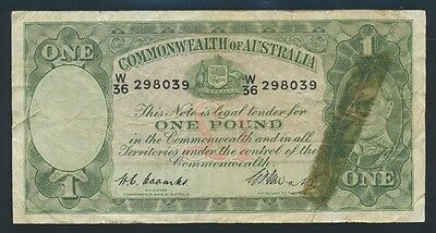 "Australia: 1949 KGVI £1 Coombs-Watt ""CAPTAIN COOK"" Wmk. Fine Cat $95"
