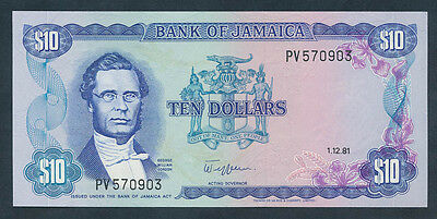 Jamaica: 1-12-1981 $10 GEORGE GORDON Portrait. Pick 67b, Choice UNC