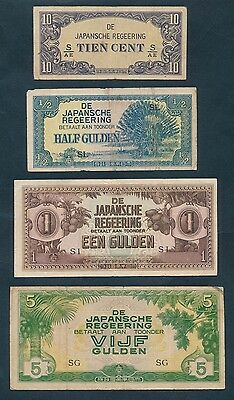 Netherlands Indies: JAPANESE OCCUPATION WWII 1942-1944 Virgin Hoard of 10 notes