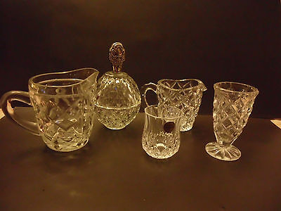 Decorative vintage Crystal Cut Glass 5 Pcs Jugs Shot Glass SP lided jar vase