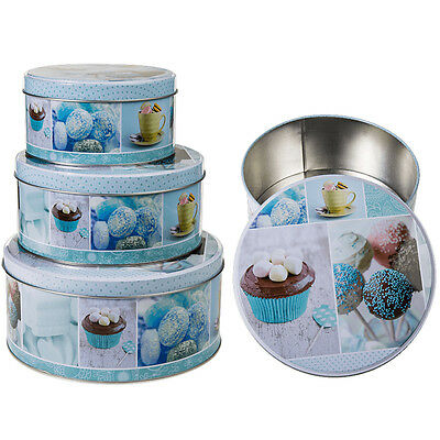 Set Of 3 Cake Storage Tin Cupcake Cookies Box Kitchen Round Container Food Cup
