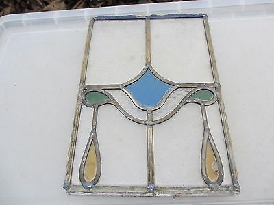 Vintage Stained Glass Window Panel Architectural Antique Old French Art Nouveau