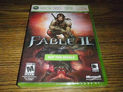 Fable II NOT FOR RESALE Xbox 360 Game New Sealed