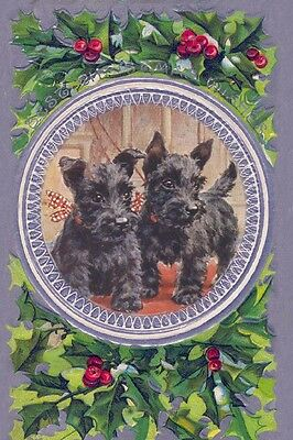Scottish Terrier Puppy Dogs Florence Valter New LARGE Blank Christmas Note Cards